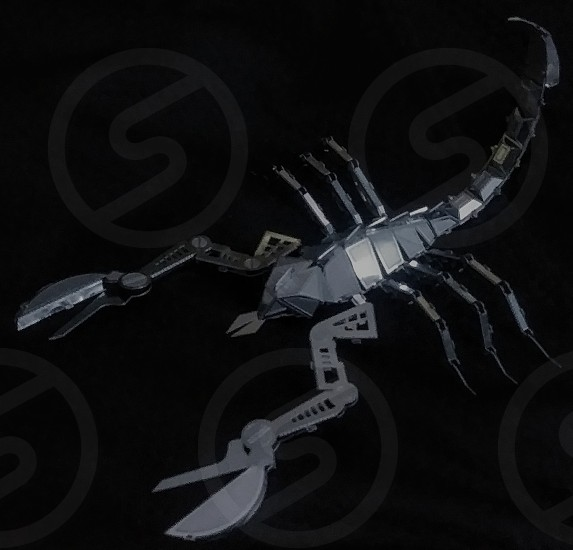 Scorpion Metal Difficult Small 3D Model Silver Shiny Sharp. photo