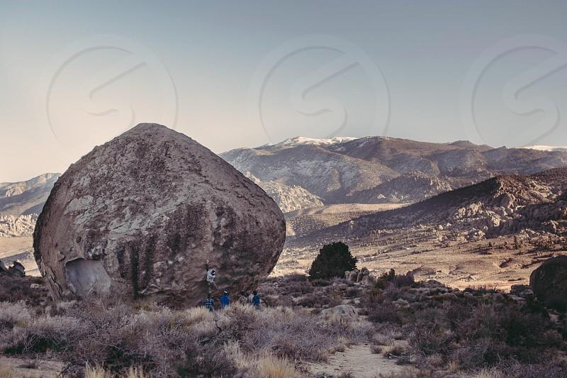 Bouldering rock climbing Bishop California  photo