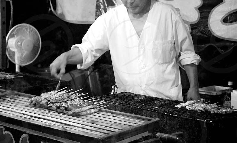 '肉' (1)  お肉 Meat Black and White Japanese 'Yatai' photo