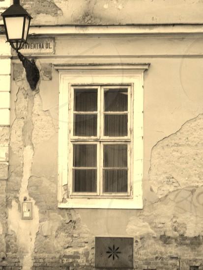 Window and lamp in Bratislava photo
