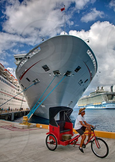 Cruise Ship with Rickshaw  photo