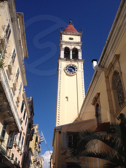 Corfu Town cathedral tower. photo