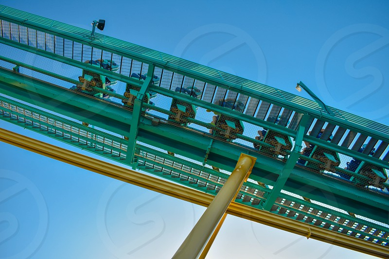 Orlando Florida . February 26  2019.  People enjoying terrific Kraken rollercoaster at Seaworld Theme Park (5) photo