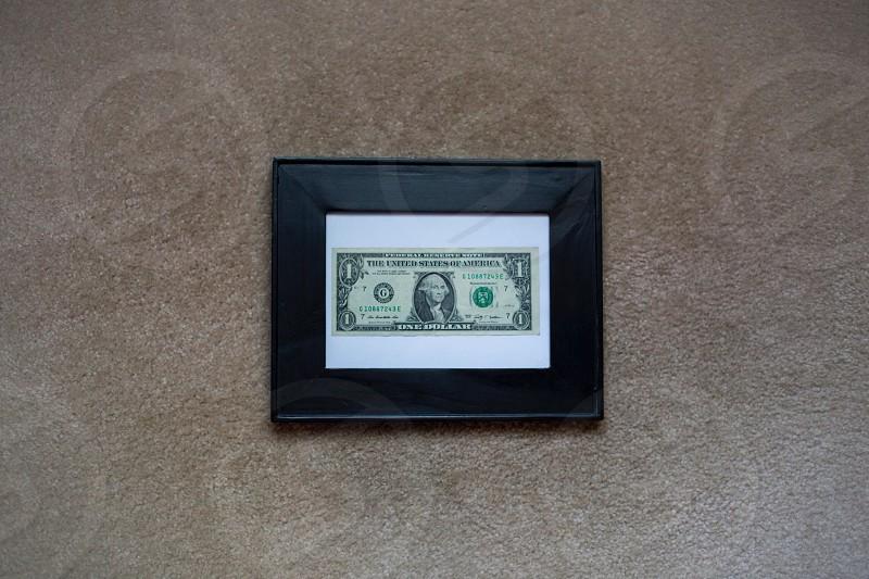 1 dollar bill framed photo