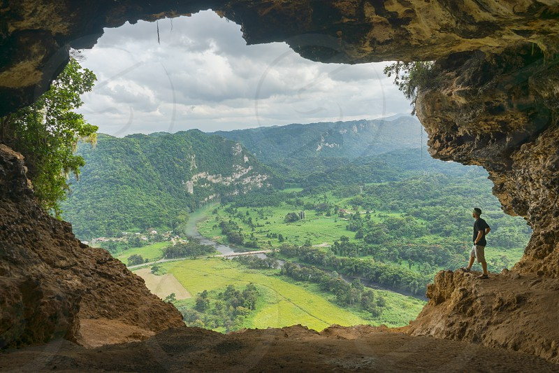 Cueva Ventana or Window Cave is a small cave system in Arecibo Puerto Rico that leads to an awe-inspiring vista. photo