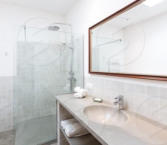 Majorca Balearic bathroom indoor house in Balearic islands Mediterranean architecture of Mallorca photo