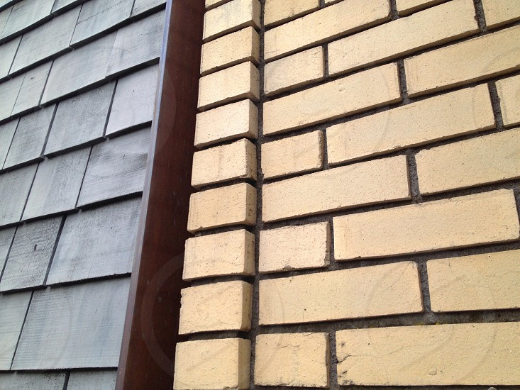 beige brick wall photo