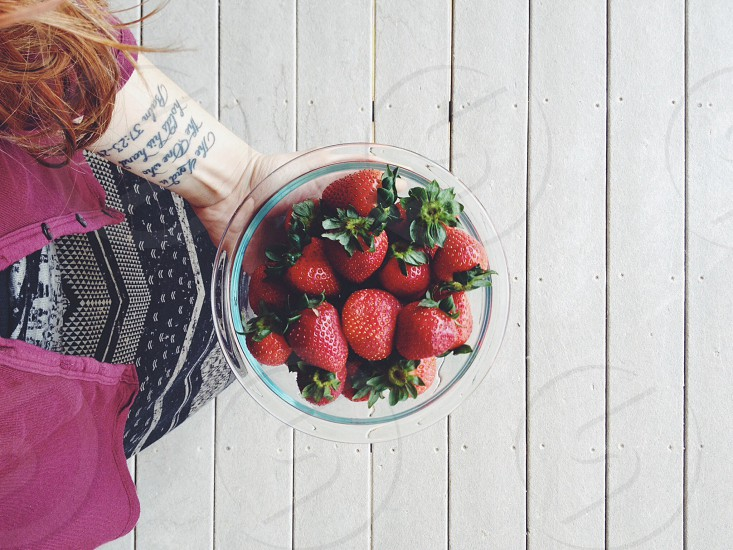 My mouth says yes to strawberries. photo