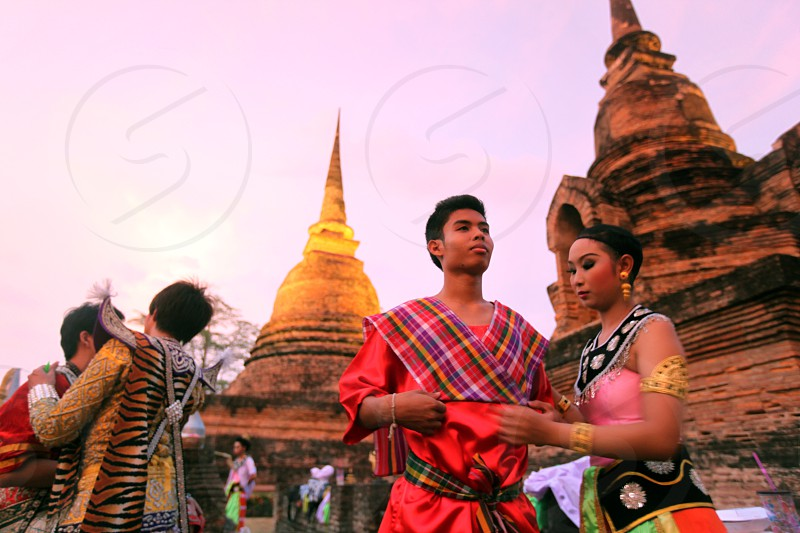traditional thai dancers at the Wat Sa Si Temple at the Si Satchanalai-Chaliang Historical Park in the Provinz Sukhothai in the north of Bangkok in Thailand Southeastasia. photo