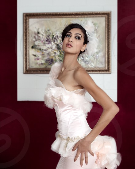 Model in Gown with painting in the background photo