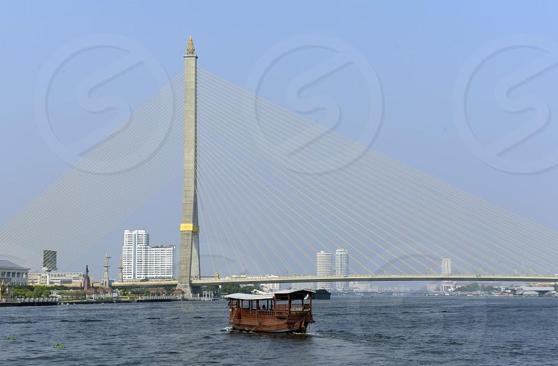 the Rama 8 Bridge at the Mae Nam Chao Phraya River in the city of Bangkok in Thailand in Southeastasia. photo
