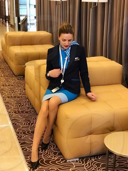 Stewardess woman aviation flight attendant  photo