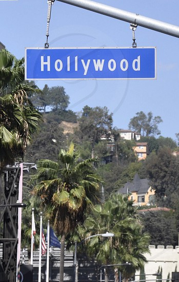 hollywood sign on street lamp photo