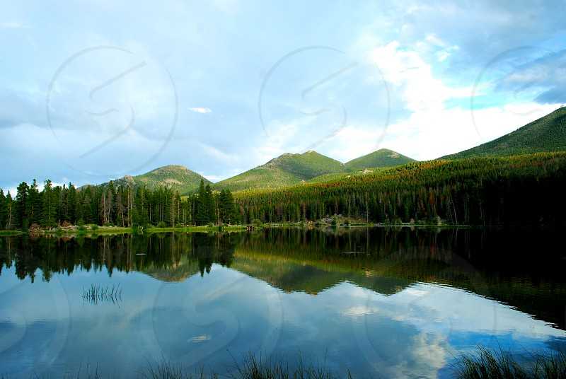 Nature Landscape Estes Park Colorado Mountain Sky Lake Reflection.  photo