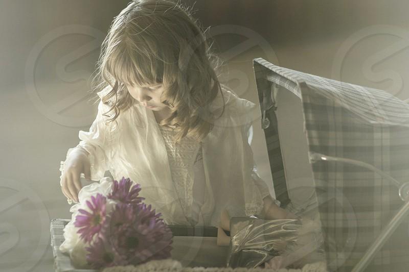 girl imagine flowers fantasy portrait story child photo