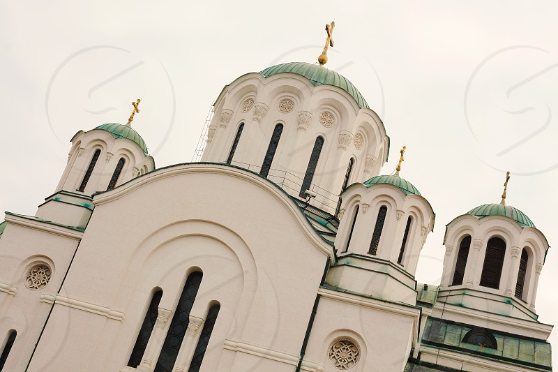 Exterior of an Orthodox church in Serbia during day.  photo