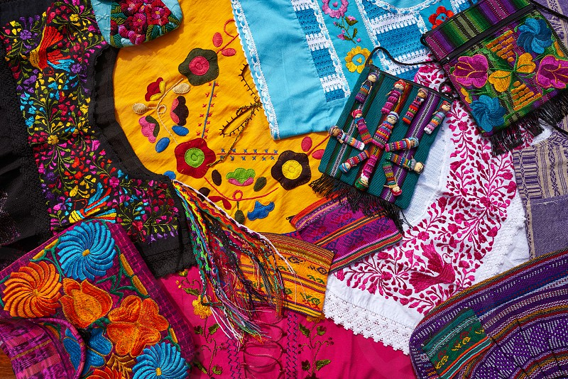 Mayan mexican handcrafts embroidery souvenirs mix photo