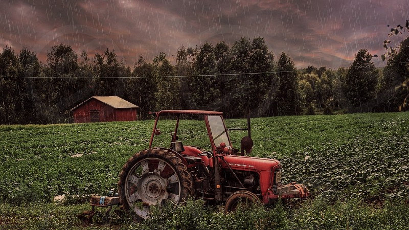 Farmers tractor on a field getting showered by rain farm farming beauty beautiful lovely love life lifestyle countryside outdoor summer sky clouds colors nature trees photo
