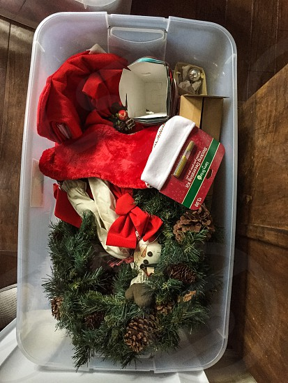 christmas decors on plastic container photo