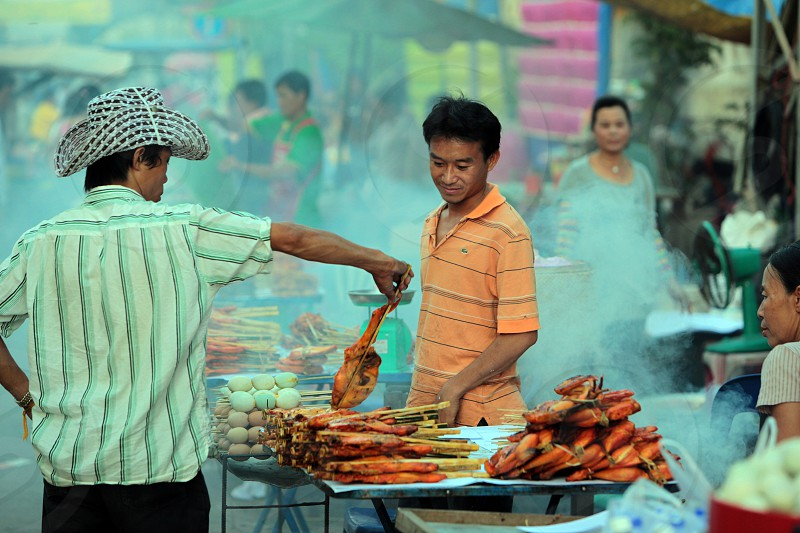 a traditional Market in the city of Vientiane in Lao in Souteastasia. photo