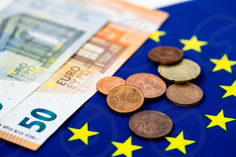 EU flag and Euro photo