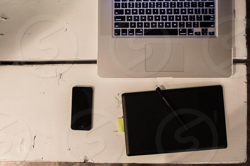 grey laptop photo