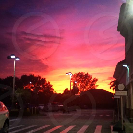 #Beautiful #Pretty #Sunset #Miami #Autumn #ParkingLot  photo