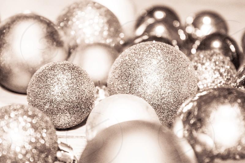 Xmas Christmas ornament festive holiday December  baubles silver photo