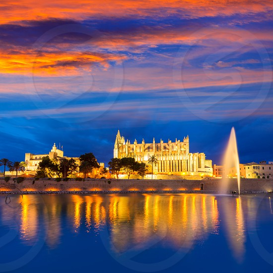 Palma de Mallorca Cathedral Seu sunset in Majorca Balearic islands of Spain photo