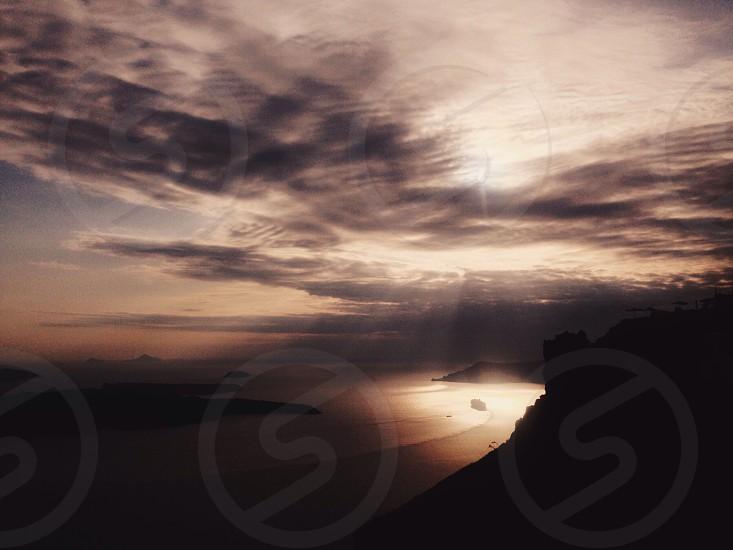 Sunset over Santorini  photo