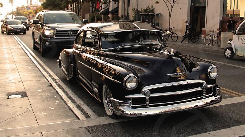 1950 Sedan in warm sunlight - in color photo