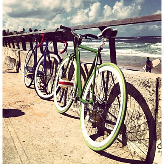 green and blue bicycle photo