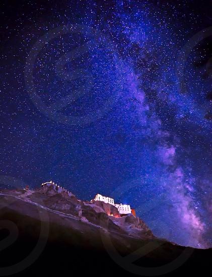 Thikse Monastery under Milky Way. Ladakh India photo