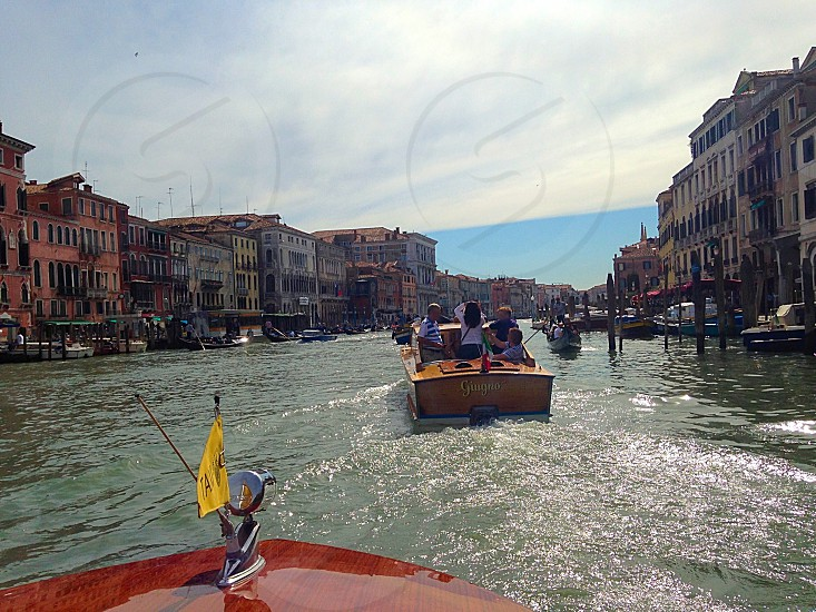 Boat ride in Venice Grand Canal waterway  photo
