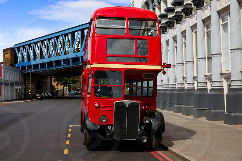 London Red Bus traditional old in England photo