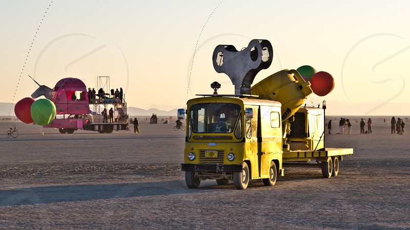 Wind-up toy car at Burning Man photo
