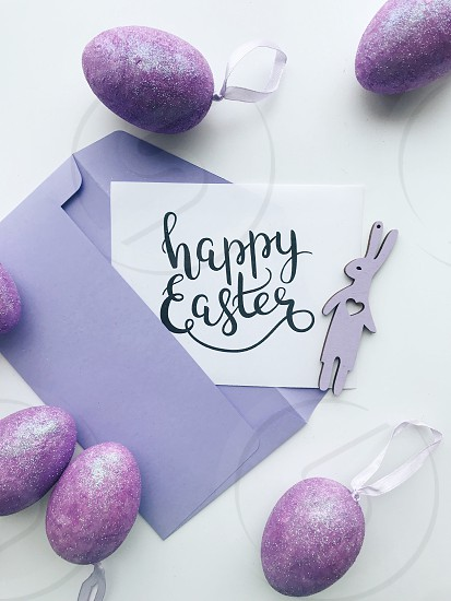Easter happy Easter Easter eggs Easter bunny Easter decor message purple envelope card spring  photo