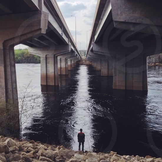 gray cement bridge wall photo