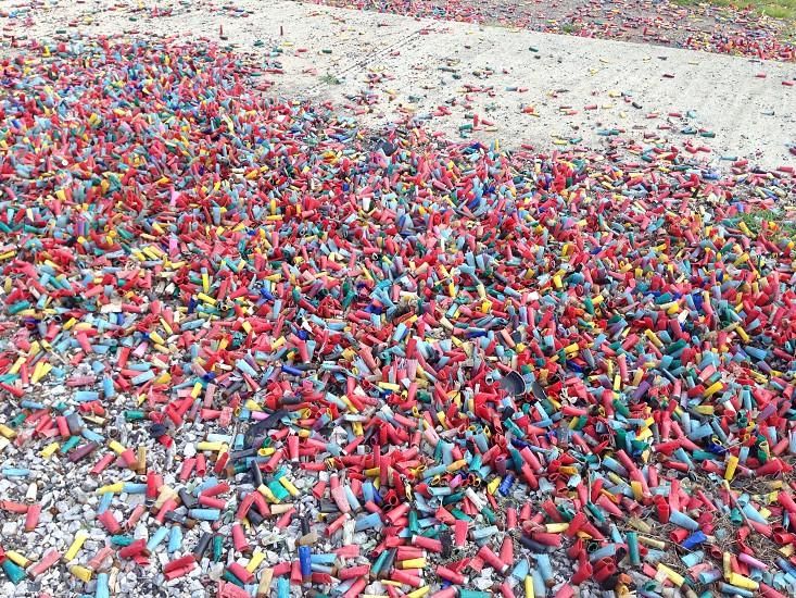 I field of shotgun shells. photo