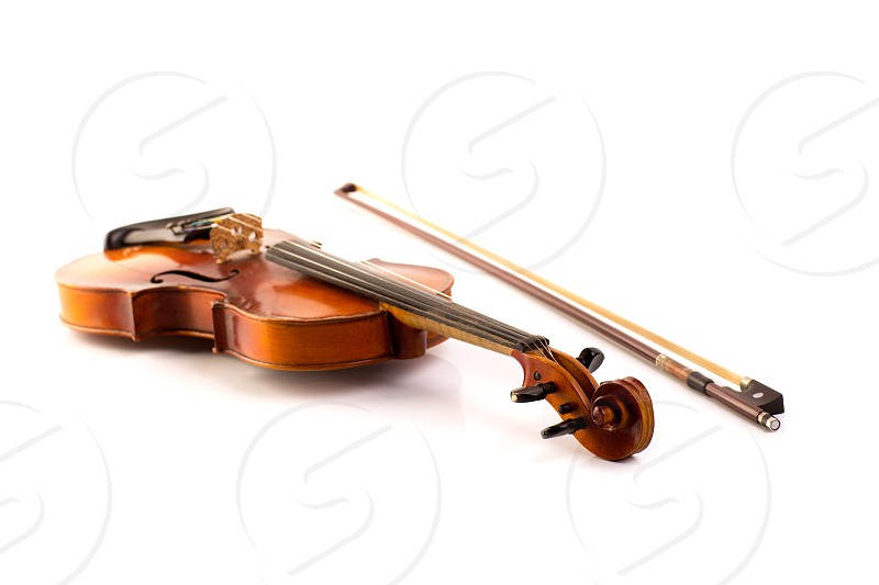 retro violin vintage isolated on white background photo