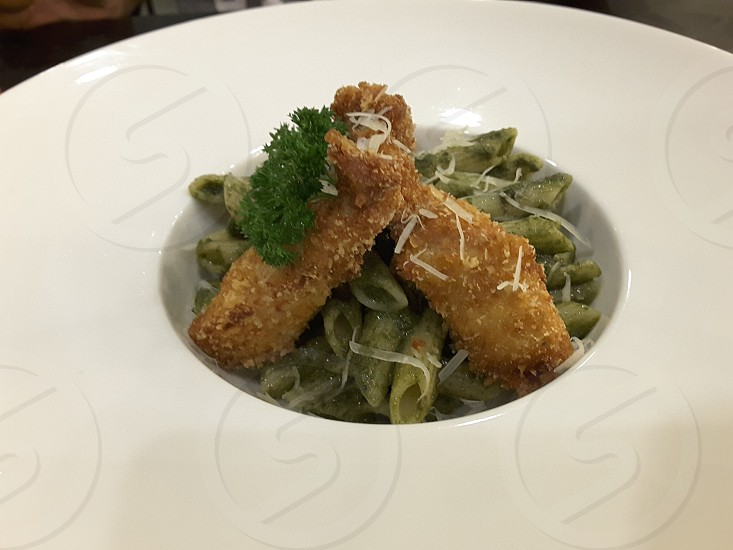 Stir-Fried Pasta with THAI KRA PAO Sauce and Deep-Fried Chicken photo