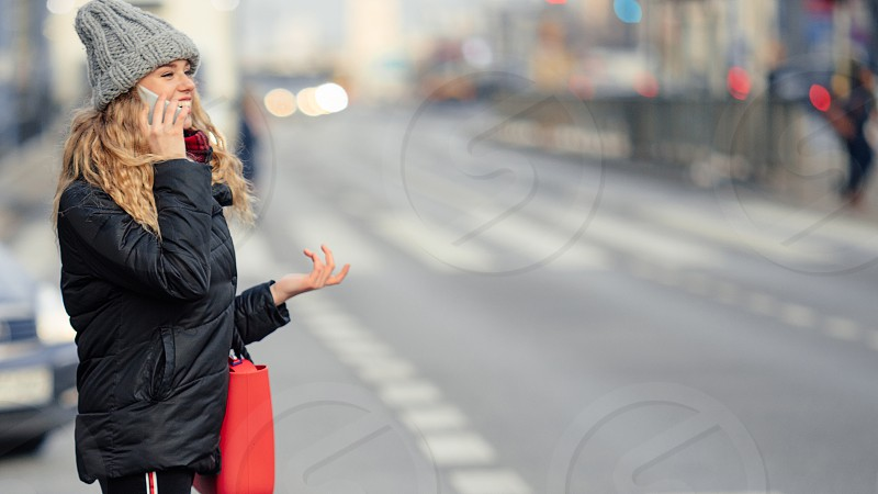 Woman Talking On Phone Walking On The Street. Portrait Of Stylish Smiling Business Woman In Winter Clothes Calling On Mobile Phone. Female Winter Style. - Image photo