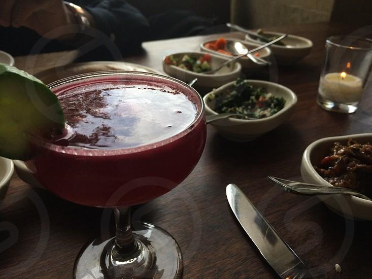 Cocktail and modern Israeli salad selections at Zahav Restaurant in Society Hill Philadelphia.  photo