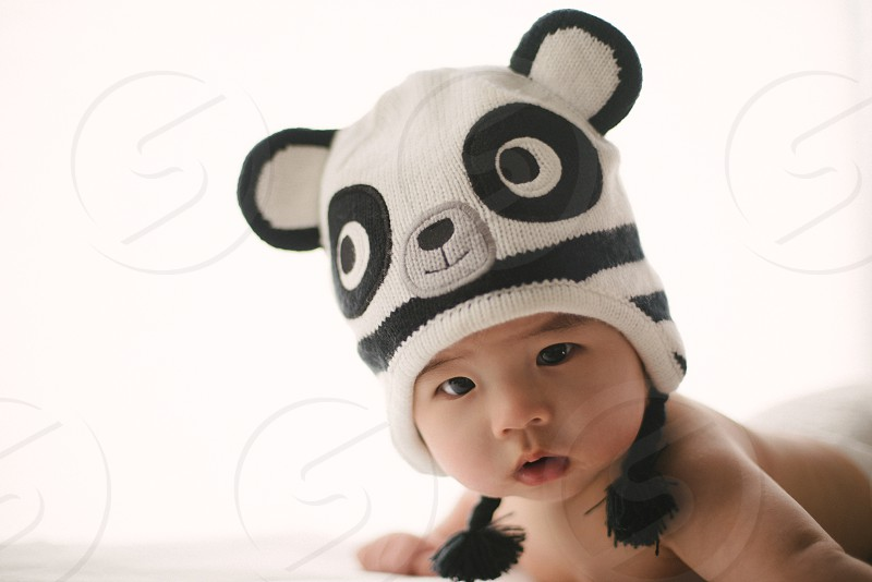 black and white baby bonnet photo