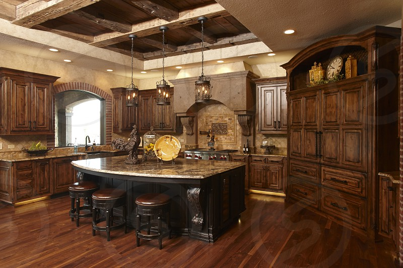 Kitchen with custom cabinets photo
