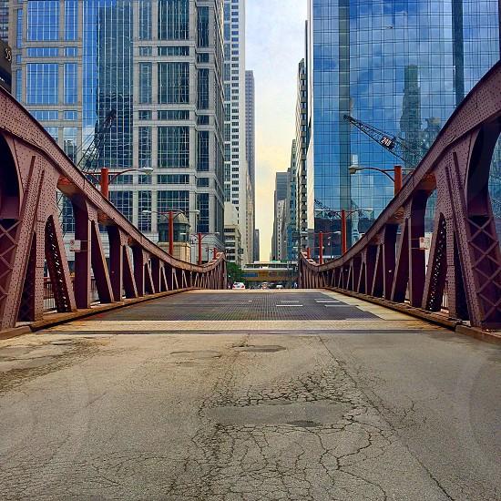 Chicago bridges river city street empty street photo