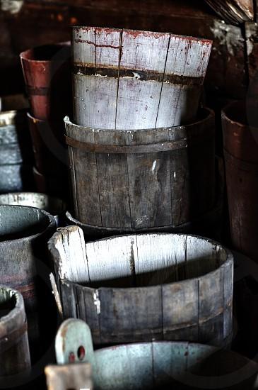 Old wooden buckets photo