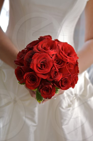 bouquet; bride; bride holding bouquet; bride holding flowers; celebration; colorful bouquet; colorful flowers; floral arrangement; flower; flowers; happy; red; red roses; roses; smiling; subject in focus; union; wedding photo
