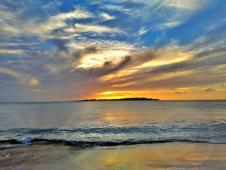 Beach shore - sunset Island waves photo