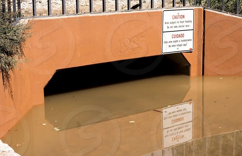 Flooding and warning sign. (Boulder Colorado) photo